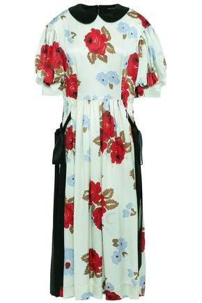 SIMONE ROCHA Bow-detailed floral-print silk-satin midi dress
