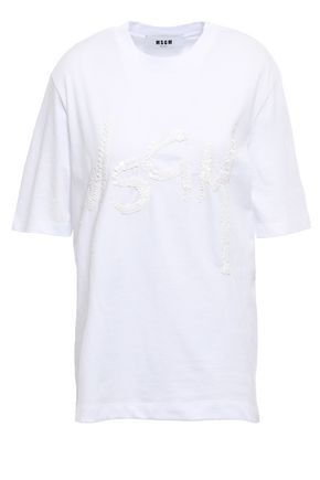 MSGM Sequin-embellished cotton-jersey T-shirt