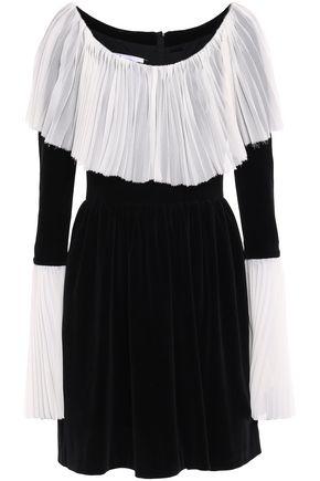 PUSHBUTTON Pleated crepe-paneled cotton-blend velvet mini dress