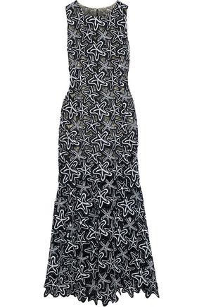 OSCAR DE LA RENTA Fluted guipure lace midi dress