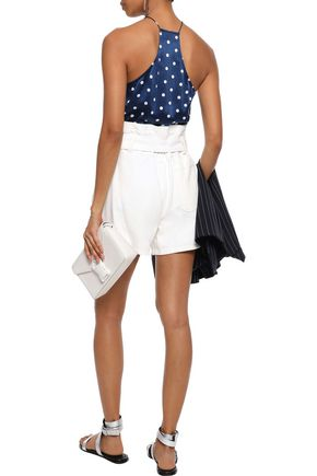 CAMI NYC The Racer lace-trimmed polka-dot silk-charmeuse camisole