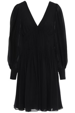 STELLA McCARTNEY Ruched silk-georgette mini dress