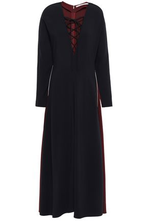 STELLA McCARTNEY Lace-up color-block stretch-crepe midi dress