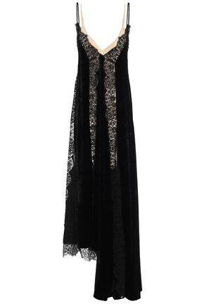 STELLA McCARTNEY Asymmetric lace-paneled velvet midi dress