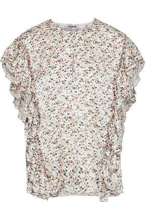 JASON WU Ruffled floral-print silk-charmeuse blouse