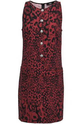 VERSUS VERSACE Button-embellished printed crepe mini dress