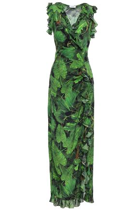 ISOLDA Wrap-effect printed silk crepe de chine maxi dress