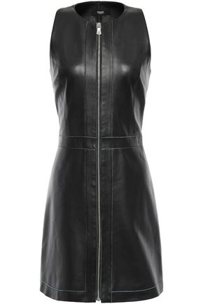 VERSUS VERSACE Zip-detailed leather mini dress