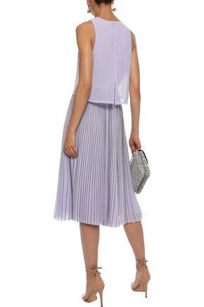 JASON WU Layered pleated pinstriped georgette midi dress