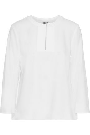 JASON WU Pleated lace-paneled crepe de chine blouse