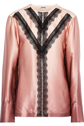 JASON WU Lace-trimmed silk-charmeuse blouse