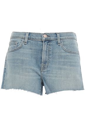 J BRAND Frayed faded denim shorts