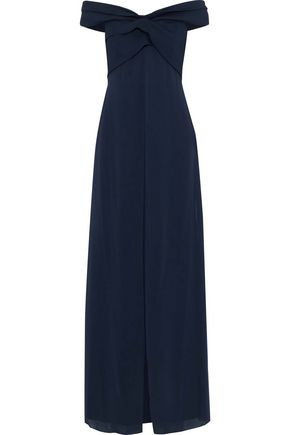 SACHIN & BABI Off-the-shoulder layered cady and chiffon gown
