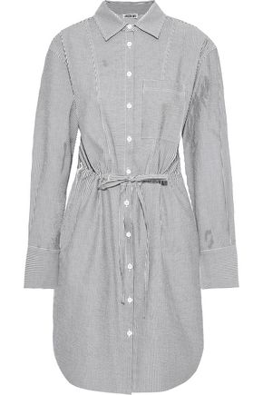 JASON WU Striped cotton-blend seersucker mini shirt dress