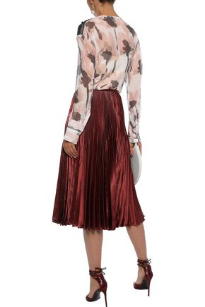 JASON WU Lace-trimmed printed silk-georgette blouse