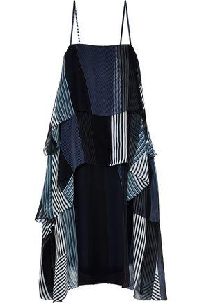 JASON WU Tiered patchwork-effect striped silk-chiffon dress