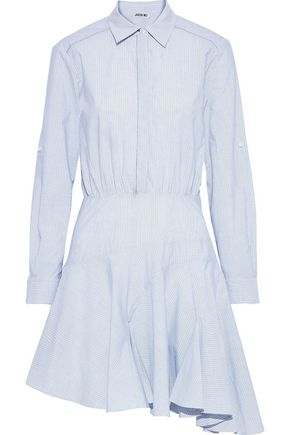 JASON WU Asymmetric striped cotton-poplin mini shirt dress