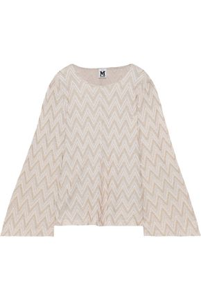 M MISSONI Fluted metallic crochet-knit top