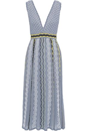 M MISSONI Embroidered crochet-knit cotton-blend midi dress