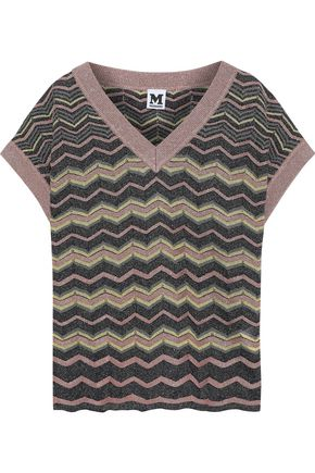 M MISSONI Metallic crochet-knit T-shirt