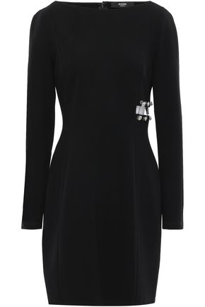 VERSUS VERSACE Cutout barbell-embellished stretch-crepe mini dress