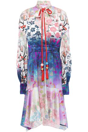 PETER PILOTTO Tasseled printed hammered silk-blend satin dress
