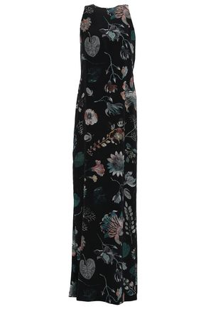 VERSUS VERSACE Cutout embellished printed silk crepe de chine maxi dress