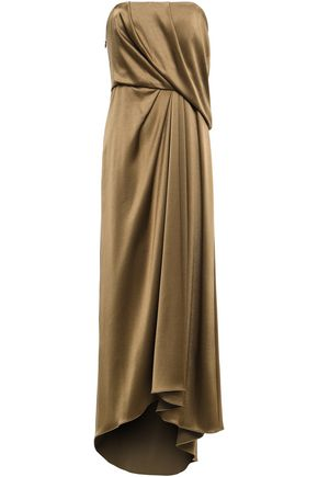 HALSTON HERITAGE Strapless draped satin-crepe gown
