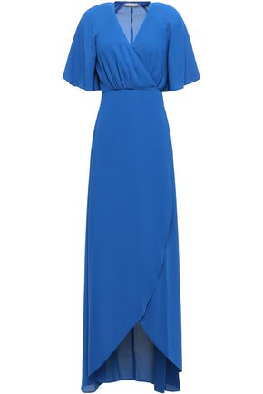 HALSTON HERITAGE Crepe wrap maxi dress