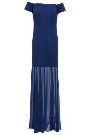 HALSTON HERITAGE Off-the-shoulder georgette-paneled stretch-jersey gown