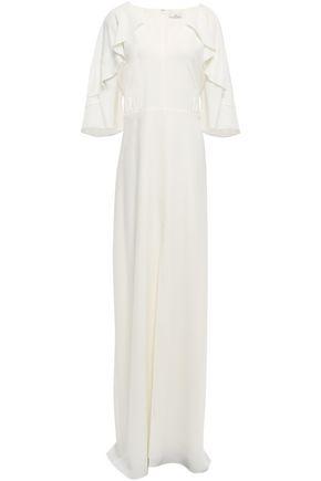 HALSTON HERITAGE Ruffled crepe de chine gown
