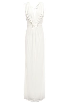 HALSTON HERITAGE Gathered stretch-jersey gown
