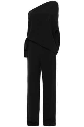 HALSTON HERITAGE One-shoulder draped crepe jumpsuit