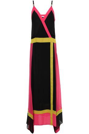 VERSACE COLLECTION Wrap-effect color-block georgette maxi dress