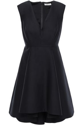 HALSTON HERITAGE Flared pleated cotton and silk-blend mini dress
