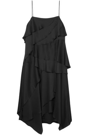 GREY JASON WU Draped washed-satin midi dress
