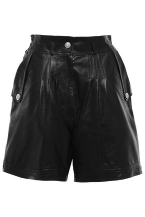 VERSUS VERSACE Pleated leather shorts