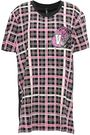 VERSUS VERSACE Appliquéd chainmail-embellished checked cotton-jersey T-shirt