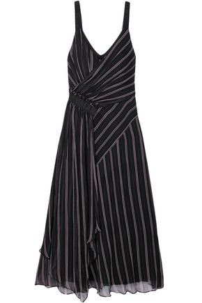 GREY JASON WU Gathered draped striped silk-chiffon midi dress