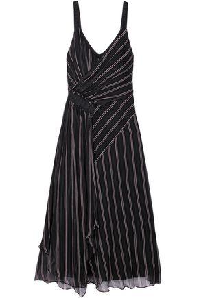 GREY JASON WU Gathered draped striped silk-chiffon midi dress