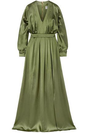 BALMAIN Pleated silk-satin gown