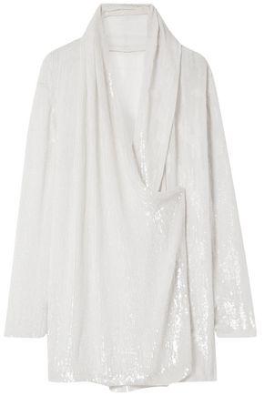 BALMAIN Wrap-effect draped sequined silk-chiffon blouse
