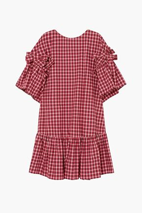 FENDI Ruffled bow-embellished checked cotton-poplin mini dress