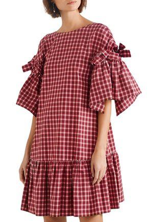 FENDI Ruffled bow-embellished checked cotton-poplin mini dress
