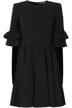 ALEXANDER MCQUEEN Cape-effect ruffle-trimmed crepe mini dress