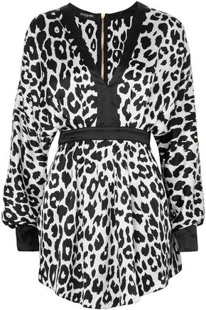 BALMAIN Leopard-print silk-satin mini dress