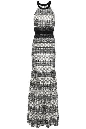 HALSTON HERITAGE Lace-trimmed two-tone broderie anglaise gown
