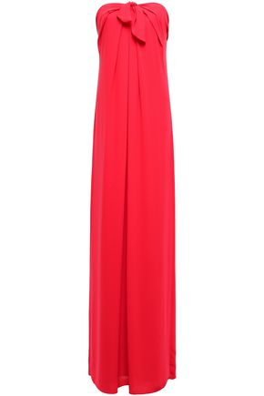 HALSTON HERITAGE Strapless knotted draped crepe gown