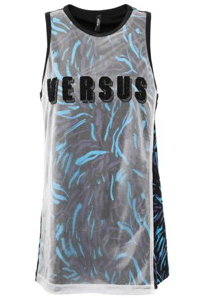 VERSUS VERSACE Layered printed stretch-cotton jersey tank