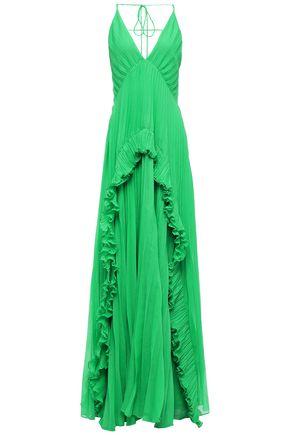 HALSTON HERITAGE Ruffle-trimmed plissé-crepe gown